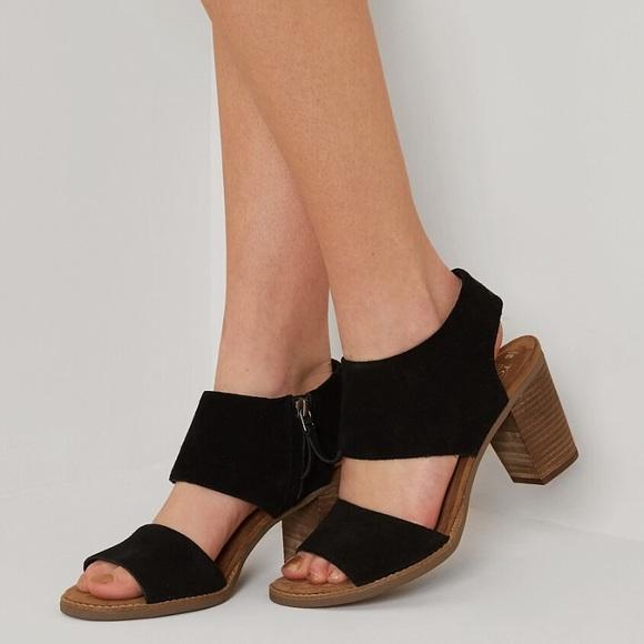 Black Suede Toms Majorca Cutout Sandals